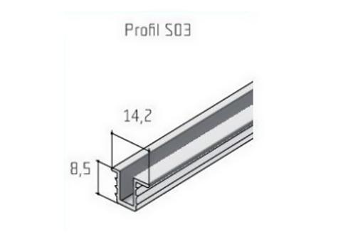 S 03 vodící lišta hliník cena za 1m /13D1S030/