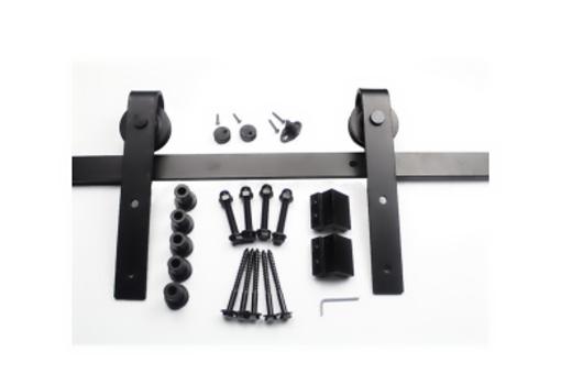 S90 W2 BLACK set pro dřevěné dveře, s tlumením, černá plochá tyč