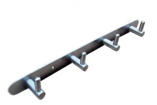 Vešáková lišta - 4 L věšáky (300x38/158) leštěný inox