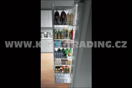 Dispensa pro skříň šíře 400 mm 1200-1600 4x koše-plné- bílá/chro