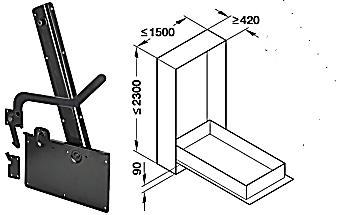 271.95.203 Kování pro sklopnou postel podélná montáž