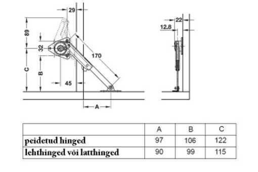 sklopný mechanismus Häfele pravý