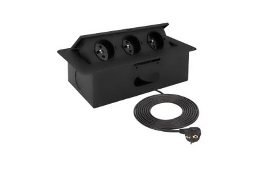 Nábytková zásuvka KOMBI BOX Černá - 3m kabel-Akce sleva 30%