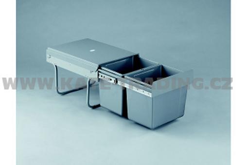 Výsuvný odpadkový 2-koš, 2x15 l, K40-šedý plast (A)