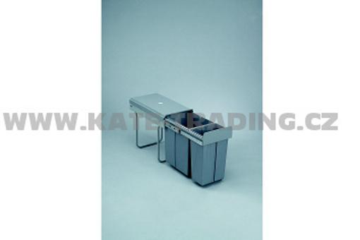 Výsuvný odpadkový 2-koš, 1x20 l + 1x10 l, K30-šedý plast (A)