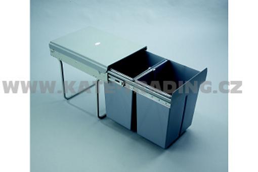 Výsuvný odpadkový 2-koš, 2x20 l, K40-šedý plast (A)