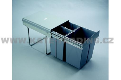 Výsuvný odpadkový 3-koš, 2x10 l+1x20 l, K40-šedý plast (A)