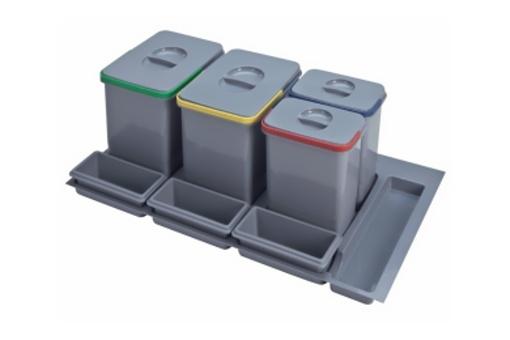 Odpadkový koš do šuplíku 900, 2x15 l + 2x7 l, šedý plast