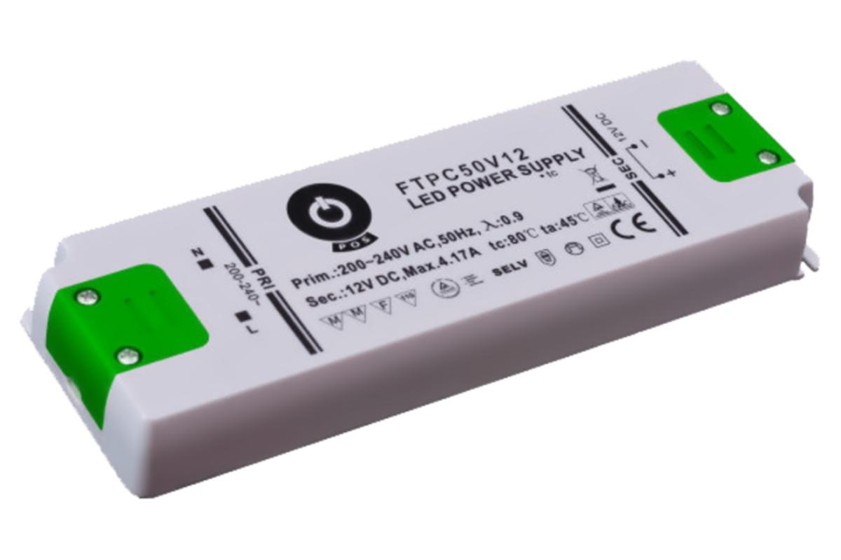 Zdroj napětí 12/50W 4,17A IP20 POS POWER typ FTPC50V12 C 12V/50W