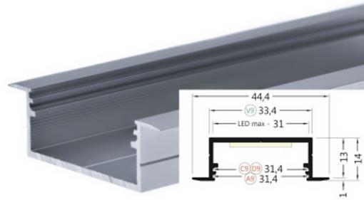 Lišta pro led Profil WIRELI VARIO30-06 hlíník anoda 2m (320926