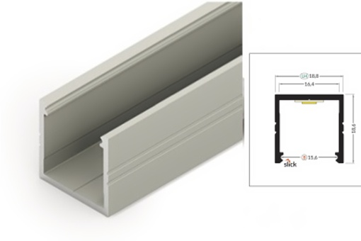 Profil WIRELI SMART16 B/U4 hliník anoda, 2m (metráž) (32093501