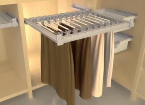 Plnovýsuvný věšák na kalhoty 14 ramen, výsuv Hettich, 800-900x47