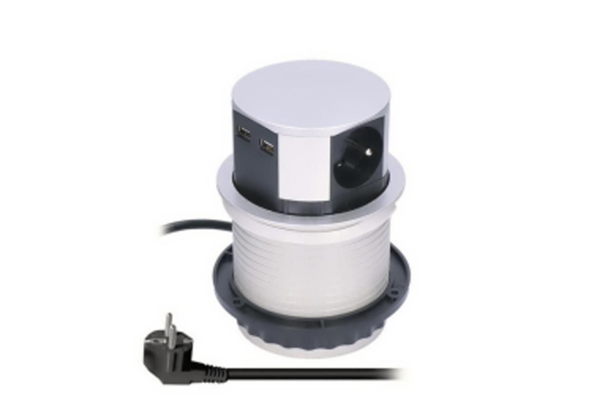 PP100USB Solight výsuvný blok zásuvek,3 zásuvky, 2x USB, kruhový