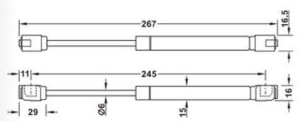 373.82.906 Plynový píst Häfele 60N šedý