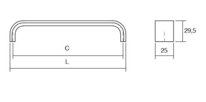 úchytka VIEFE černá brus rozteč 480mm