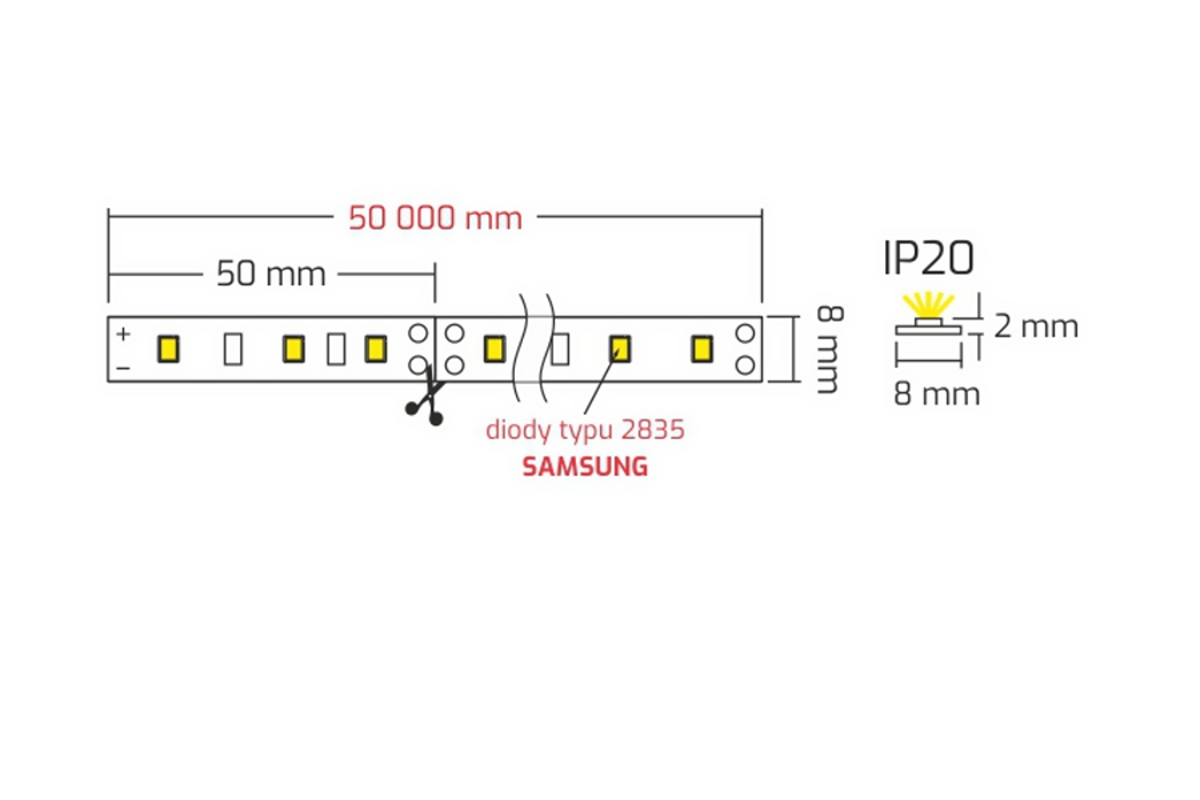 LED pásek STRIP PREMIUM SAMSUNG 2835-60 diod/m neutrální bílá 13
