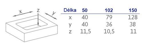 2291-50 N1 Délka: 50 mm, Šířka: 50 mm, Hloubka: 11 mm, Povrch: n