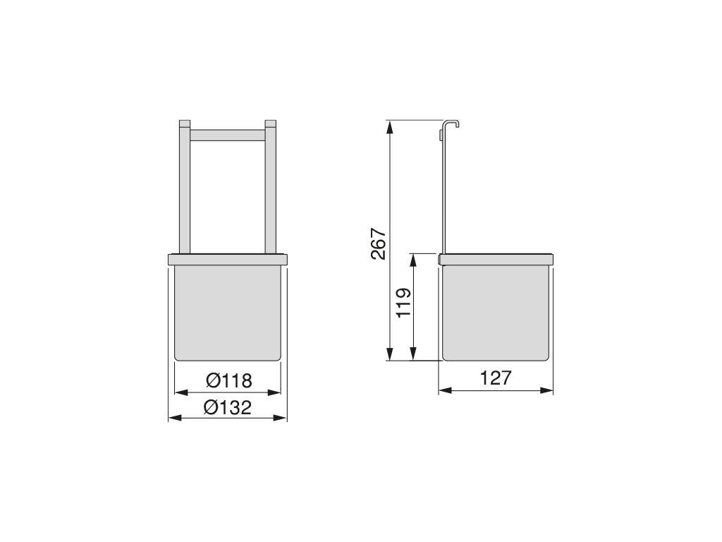 Závěsný držák doplňků Titane, 132x127x267 mm, antracit (100500