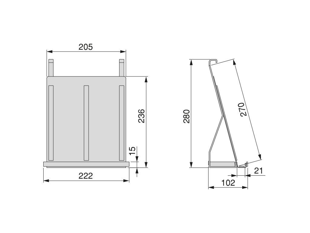 Závěsná police Titane na tablet / knihu, 222x102x280 mm, antraci