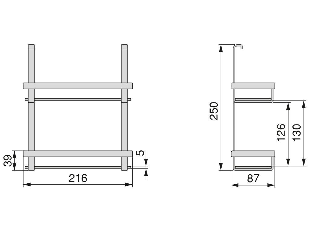 Polička Titane dvoustupňová, 216x87x250 mm, antracit (10050026
