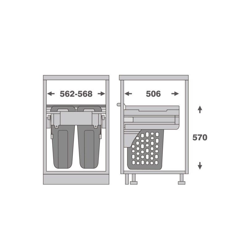 Prádelní koš Elegance, 70 (2x35) l, 562-568x506x570 mm, bílý pla