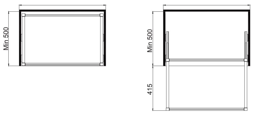 Univerzální rám s tlumeným dovřením, 747x480x56 mm, hliník eloxo