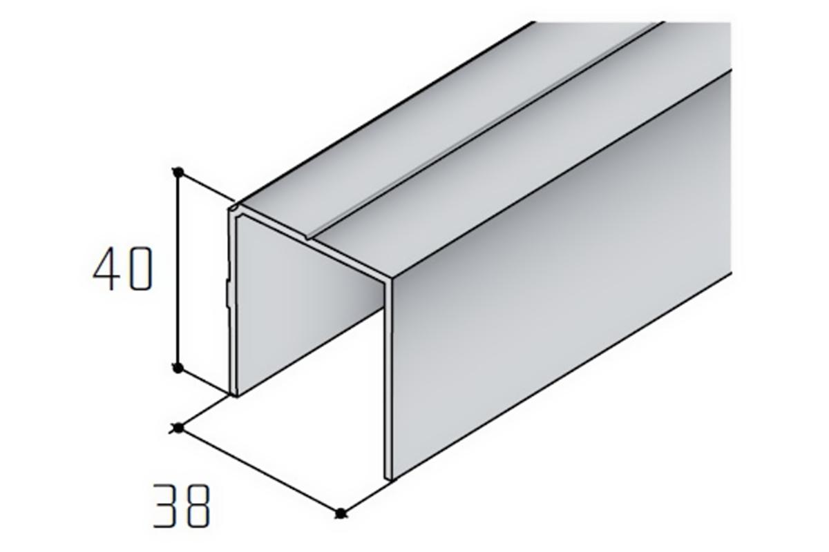 Spodní jednoprofil hranatý S06N stříbrný elox /16D106N1/ 1bm