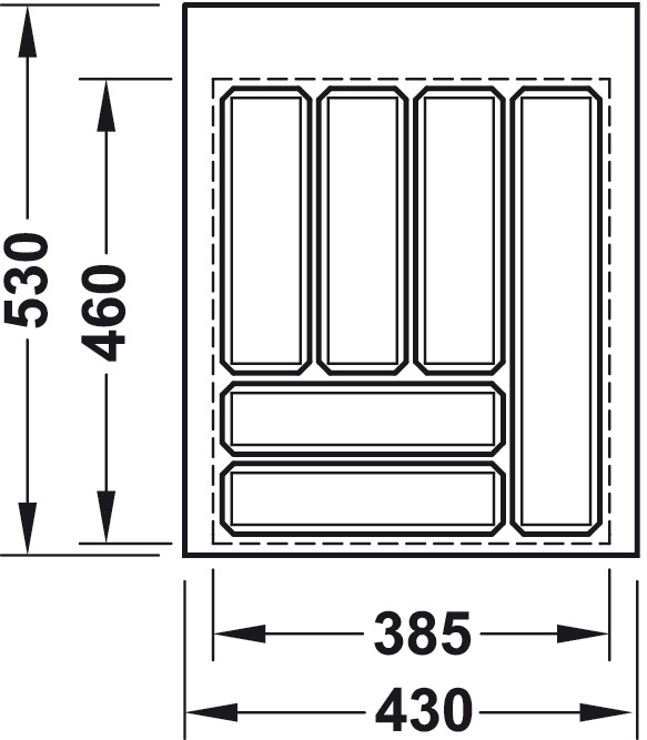 Příborník Vložka do zásuvky,do 500, výška 52 mm (1)