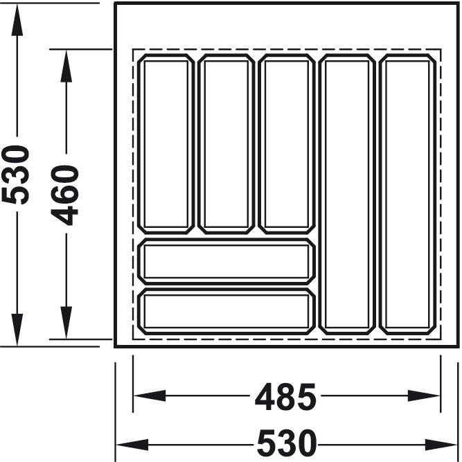 Příborník Vložka do zásuvky,do 600, výška 52 mm (1)